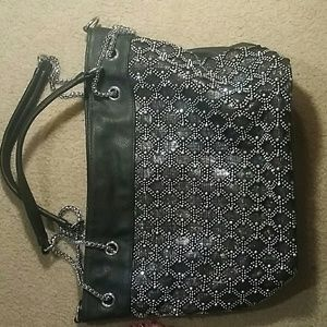 Handbags - Glamorous Black and Silver purse